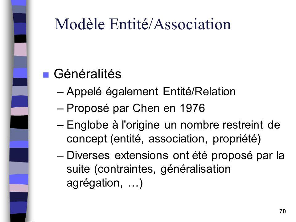 70 Modèle Entité/Association n Généralités –Appelé également Entité/Relation –Proposé par Chen en 1976 –Englobe à l'origine un nombre restreint de con