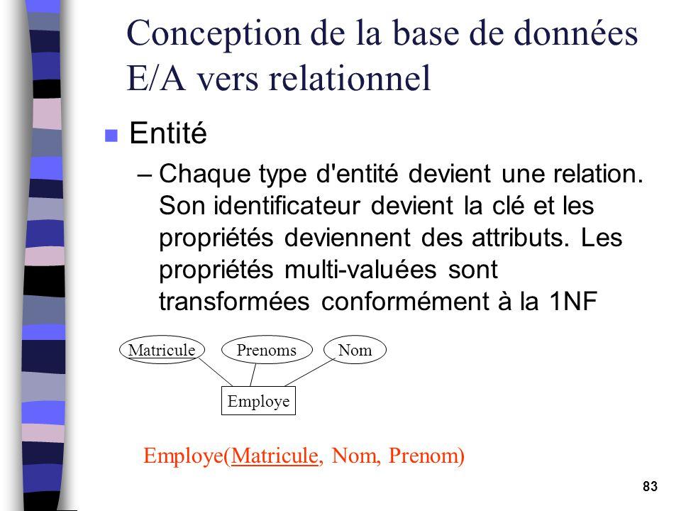 83 Conception de la base de données E/A vers relationnel n Entité –Chaque type d'entité devient une relation. Son identificateur devient la clé et les