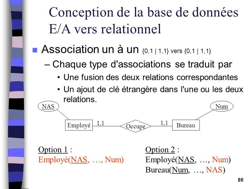 86 Conception de la base de données E/A vers relationnel n Association un à un {0,1   1,1} vers {0,1   1,1} –Chaque type d'associations se traduit par