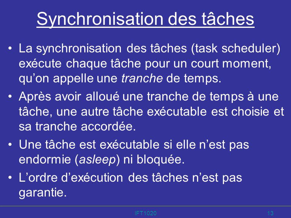 IFT102013 Synchronisation des tâches La synchronisation des tâches (task scheduler) exécute chaque tâche pour un court moment, quon appelle une tranch