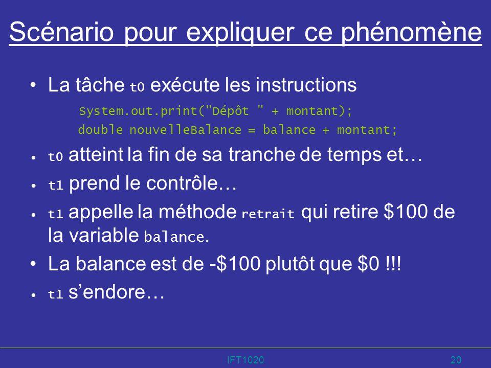 IFT102020 Scénario pour expliquer ce phénomène La tâche t0 exécute les instructions System.out.print(