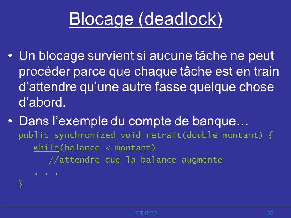 IFT102030 Blocage (deadlock) Un blocage survient si aucune tâche ne peut procéder parce que chaque tâche est en train dattendre quune autre fasse quel