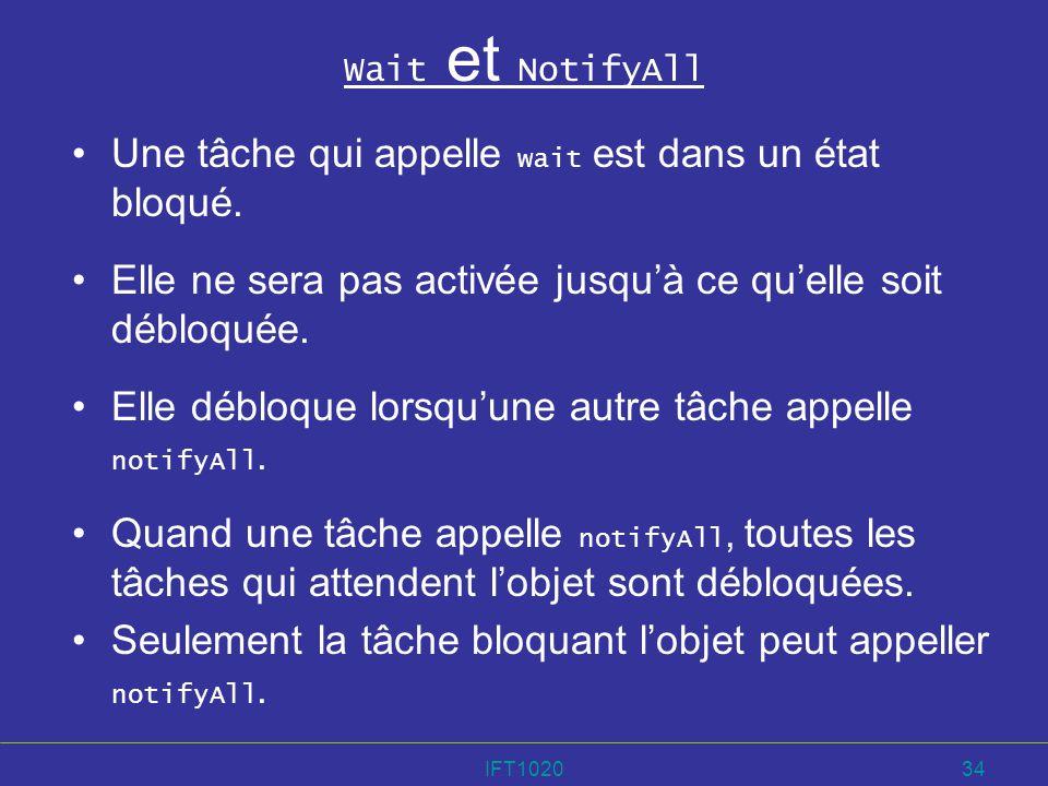 IFT102034 Wait et NotifyAll Une tâche qui appelle wait est dans un état bloqué. Elle ne sera pas activée jusquà ce quelle soit débloquée. Elle débloqu