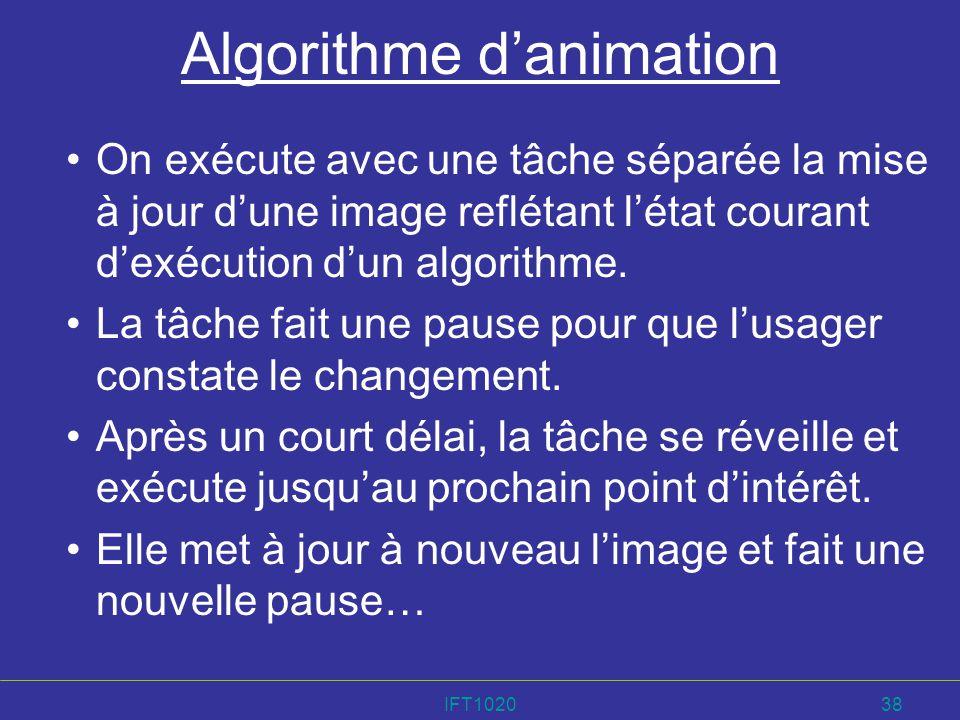 IFT102038 Algorithme danimation On exécute avec une tâche séparée la mise à jour dune image reflétant létat courant dexécution dun algorithme. La tâch