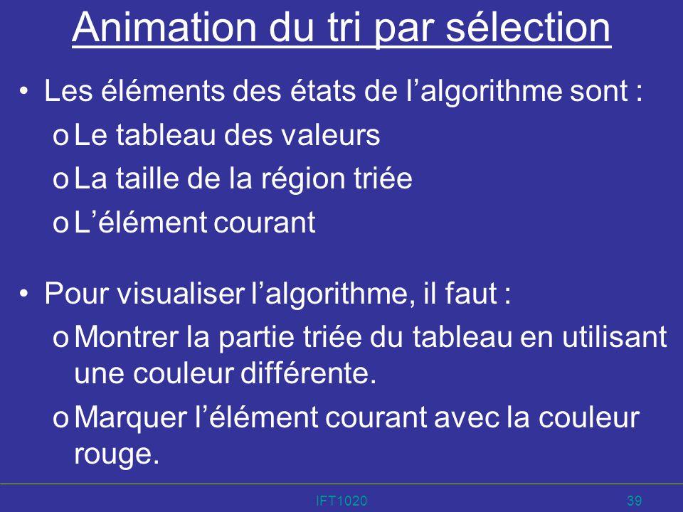 IFT102039 Animation du tri par sélection Les éléments des états de lalgorithme sont : oLe tableau des valeurs oLa taille de la région triée oLélément