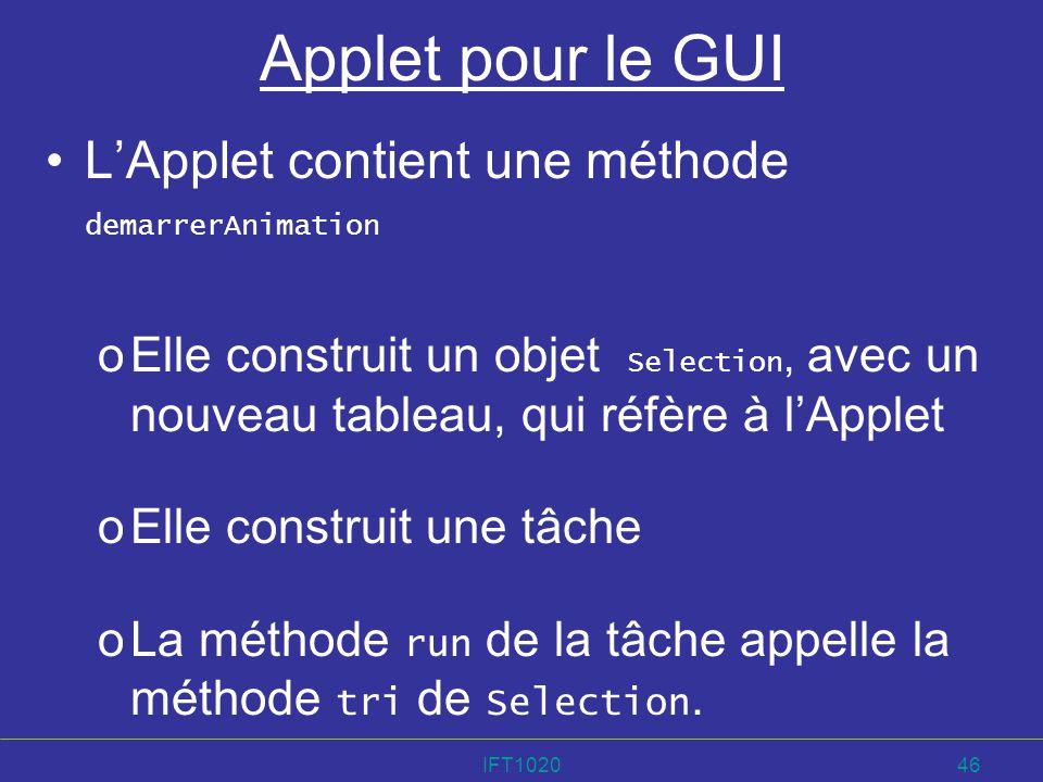 IFT102046 Applet pour le GUI LApplet contient une méthode demarrerAnimation oElle construit un objet Selection, avec un nouveau tableau, qui réfère à