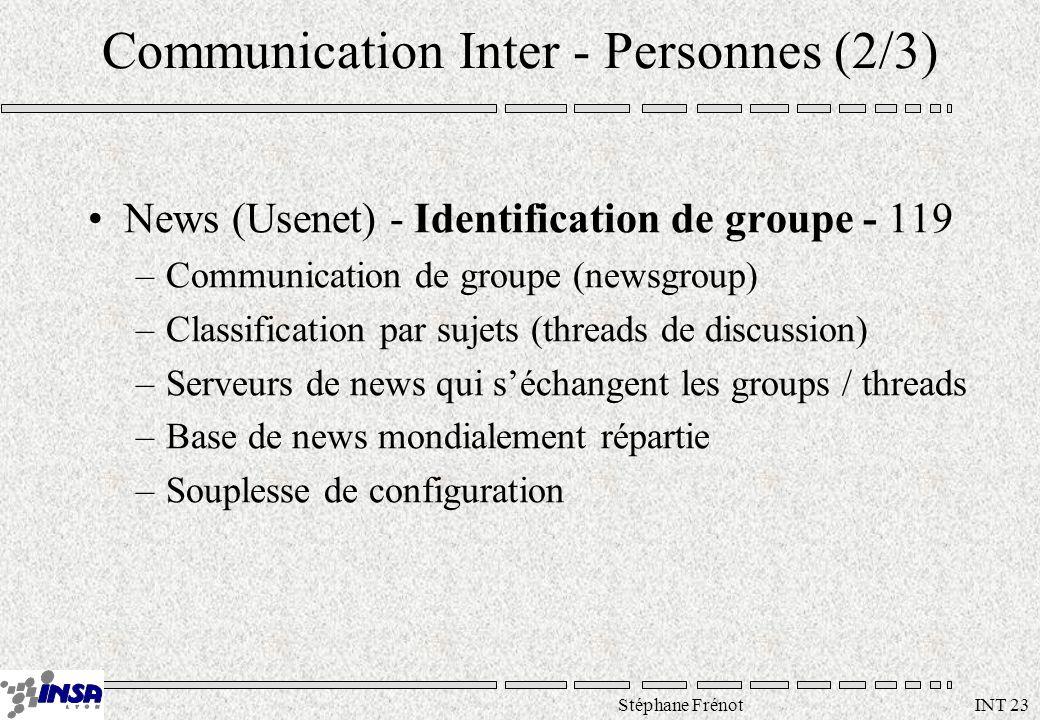 Stéphane Frénot INT 23 Communication Inter - Personnes (2/3) News (Usenet) - Identification de groupe - 119 –Communication de groupe (newsgroup) –Clas