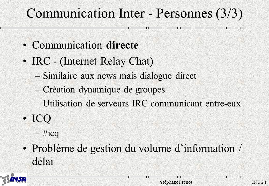 Stéphane Frénot INT 24 Communication Inter - Personnes (3/3) Communication directe IRC - (Internet Relay Chat) –Similaire aux news mais dialogue direct –Création dynamique de groupes –Utilisation de serveurs IRC communicant entre-eux ICQ –#icq Problème de gestion du volume dinformation / délai