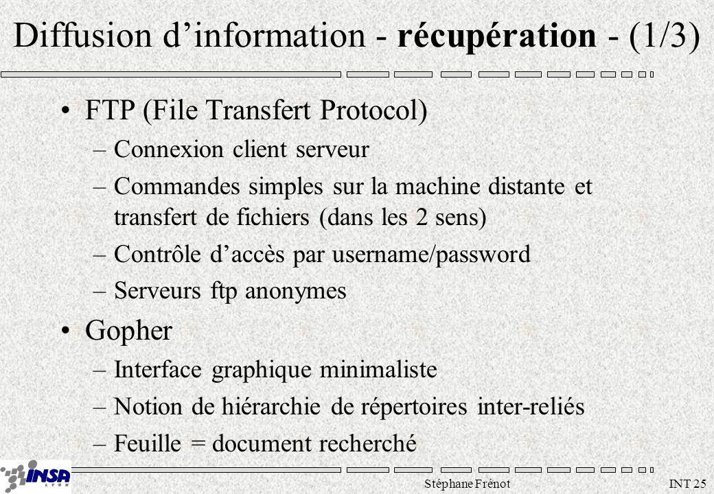 Stéphane Frénot INT 25 Diffusion dinformation - récupération - (1/3) FTP (File Transfert Protocol) –Connexion client serveur –Commandes simples sur la