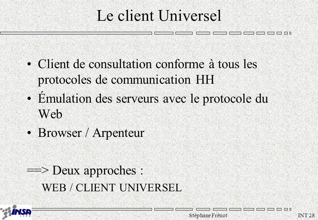 Stéphane Frénot INT 28 Le client Universel Client de consultation conforme à tous les protocoles de communication HH Émulation des serveurs avec le protocole du Web Browser / Arpenteur ==> Deux approches : WEB / CLIENT UNIVERSEL