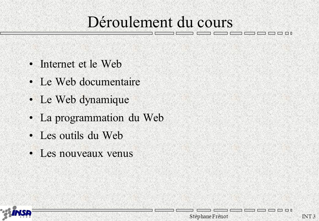 Stéphane Frénot INT 3 Déroulement du cours Internet et le Web Le Web documentaire Le Web dynamique La programmation du Web Les outils du Web Les nouveaux venus