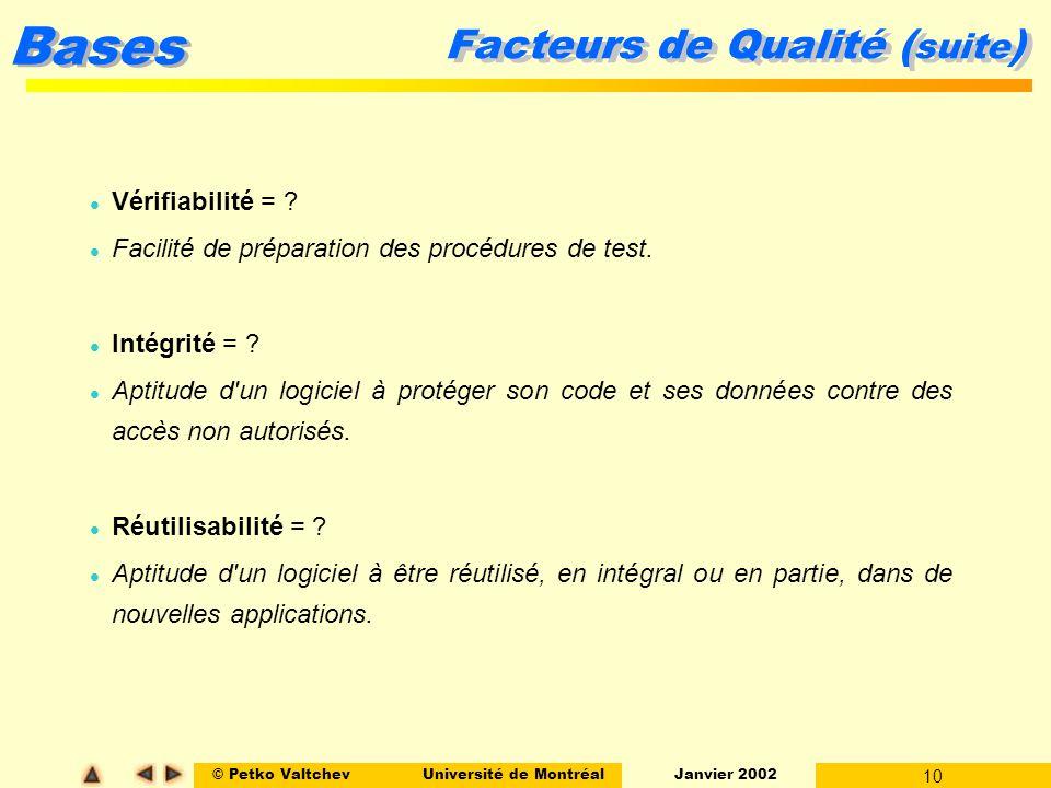 © Petko ValtchevUniversité de Montréal Janvier 2002 10 Bases Facteurs de Qualité ( suite ) l Vérifiabilité = ? l Facilité de préparation des procédure