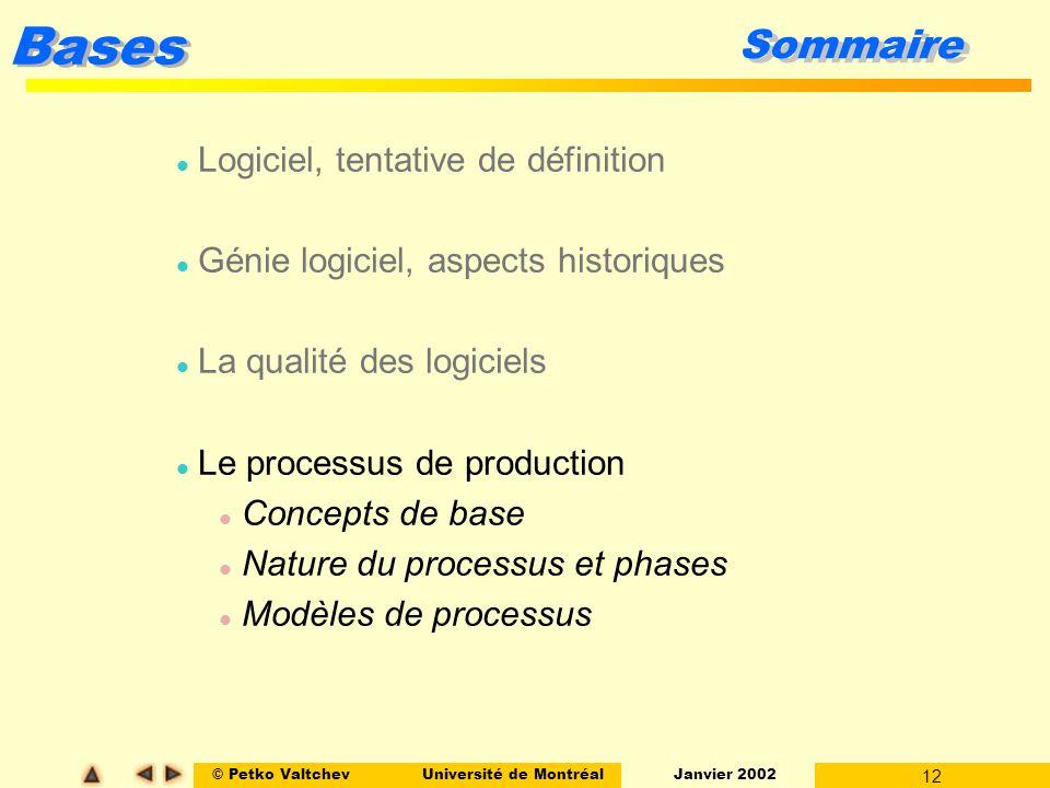 © Petko ValtchevUniversité de Montréal Janvier 2002 12 Bases Sommaire l Logiciel, tentative de définition l Génie logiciel, aspects historiques l La q