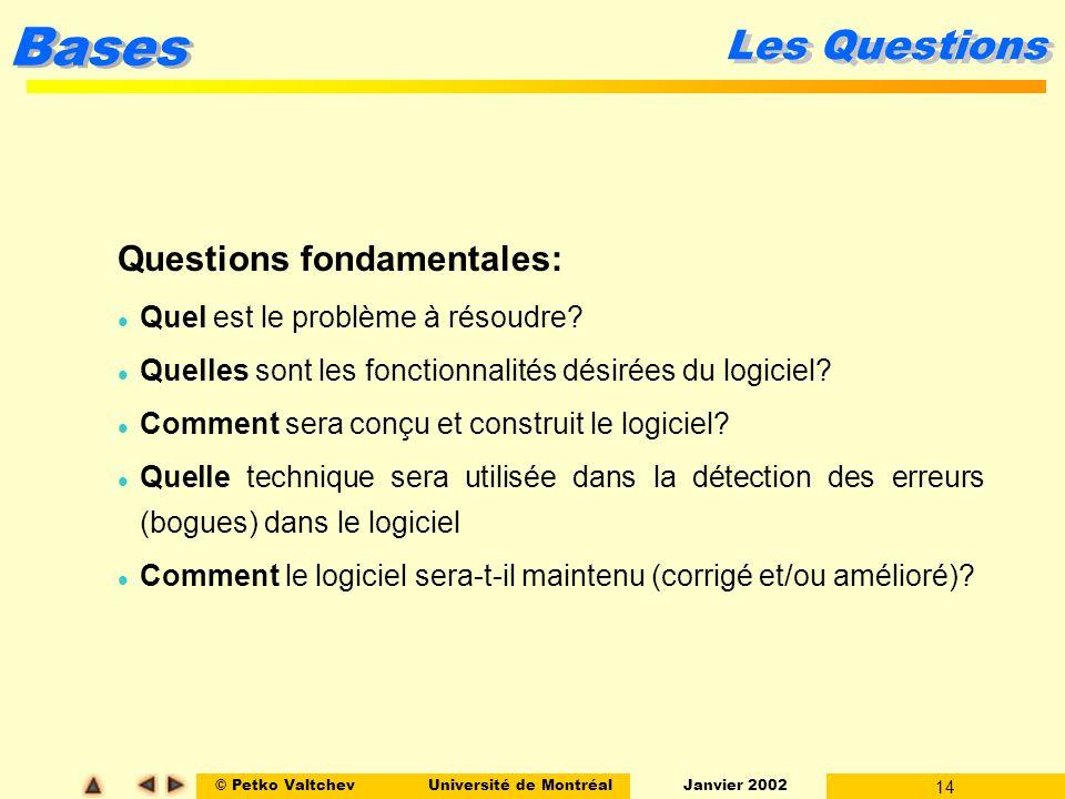 © Petko ValtchevUniversité de Montréal Janvier 2002 14 Bases Les Questions Questions fondamentales: l Quel est le problème à résoudre.