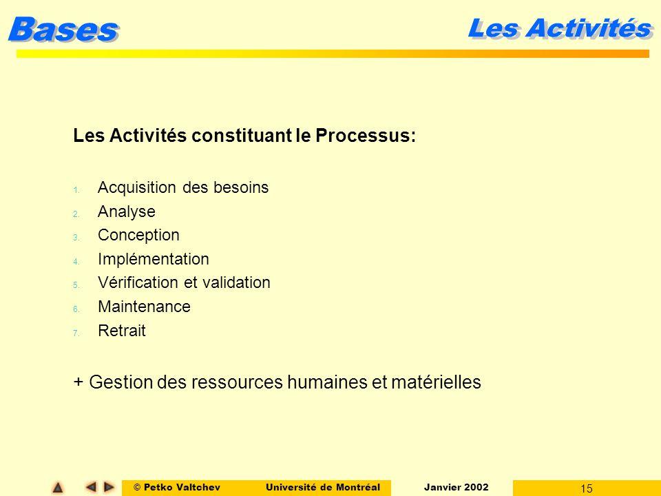 © Petko ValtchevUniversité de Montréal Janvier 2002 15 Bases Les Activités Les Activités constituant le Processus: 1. Acquisition des besoins 2. Analy