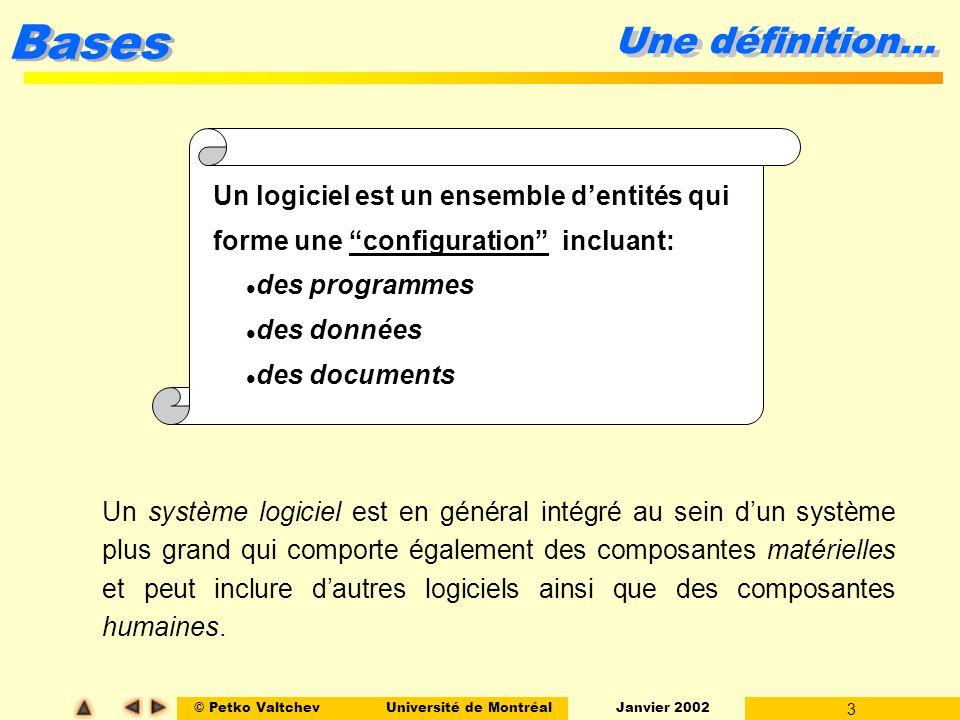 © Petko ValtchevUniversité de Montréal Janvier 2002 3 Bases Une définition… Un logiciel est un ensemble dentités qui forme une configuration incluant: