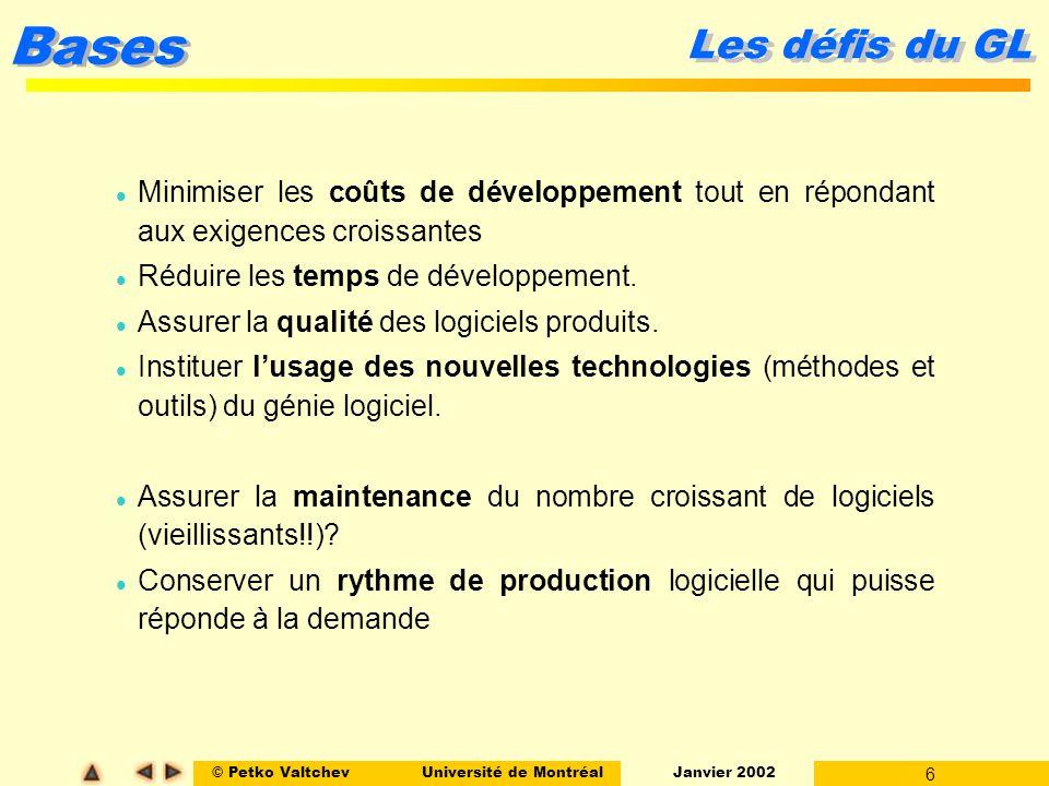 © Petko ValtchevUniversité de Montréal Janvier 2002 6 Bases Les défis du GL l Minimiser les coûts de développement tout en répondant aux exigences croissantes l Réduire les temps de développement.