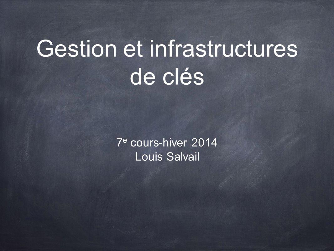 Gestion et infrastructures de clés 7 e cours-hiver 2014 Louis Salvail