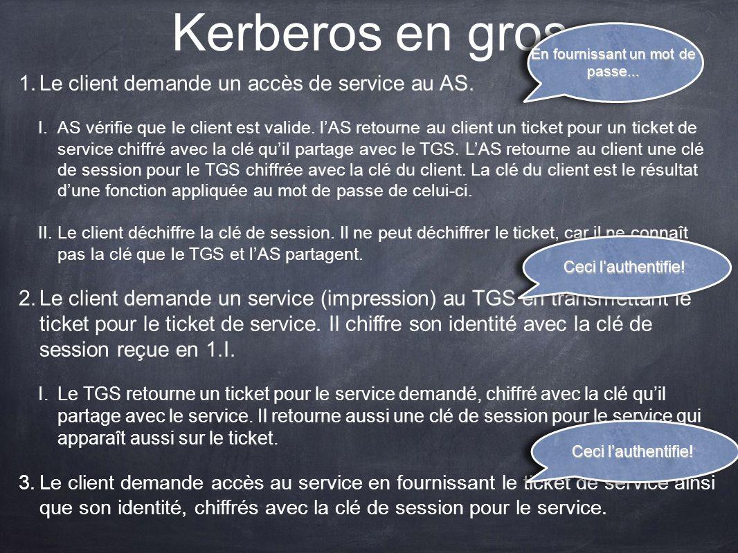 Kerberos en gros 1.Le client demande un accès de service au AS. I.AS vérifie que le client est valide. lAS retourne au client un ticket pour un ticket