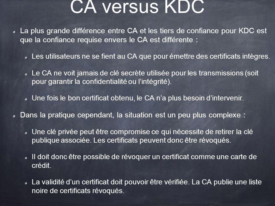 CA versus KDC La plus grande différence entre CA et les tiers de confiance pour KDC est que la confiance requise envers le CA est différente : Les uti