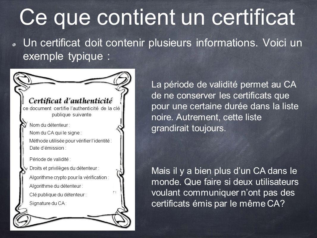 Ce que contient un certificat Un certificat doit contenir plusieurs informations. Voici un exemple typique : La période de validité permet au CA de ne