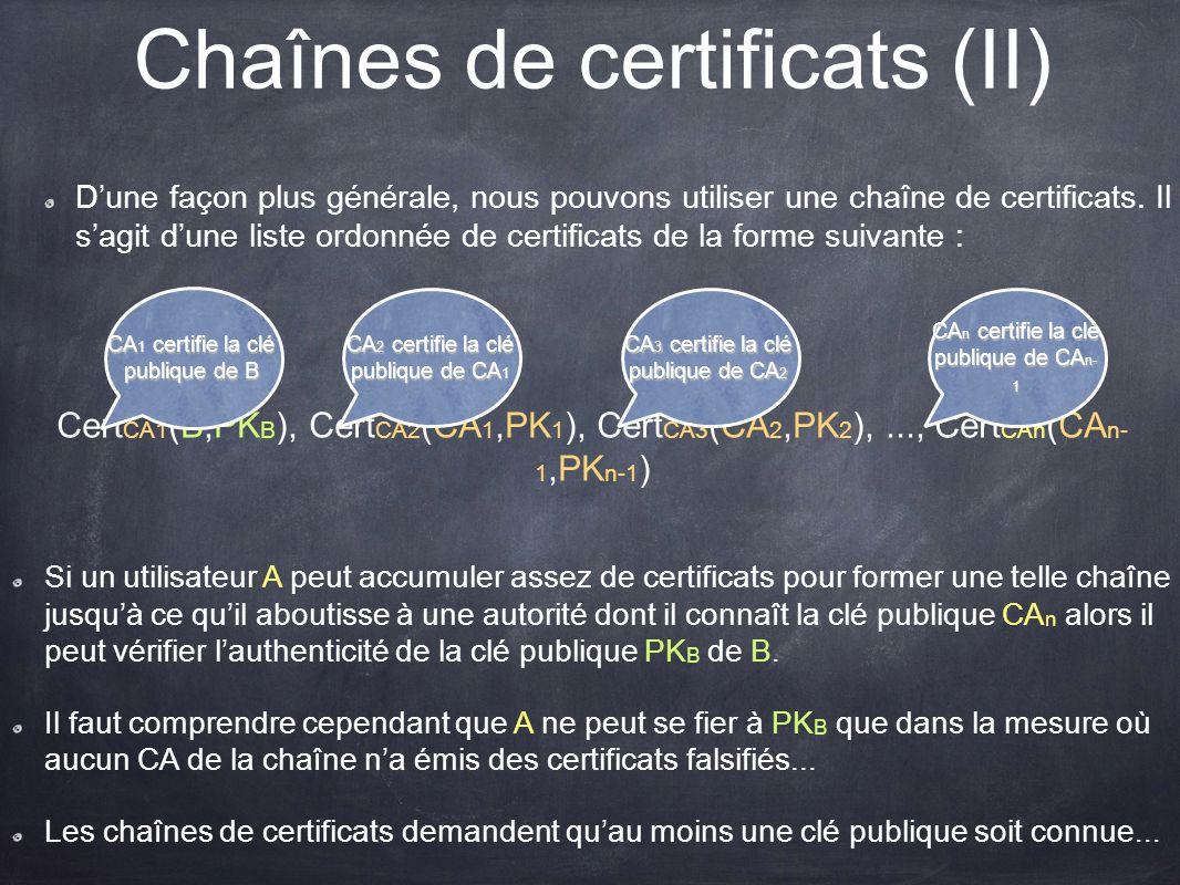 Chaînes de certificats (II) Dune façon plus générale, nous pouvons utiliser une chaîne de certificats. Il sagit dune liste ordonnée de certificats de