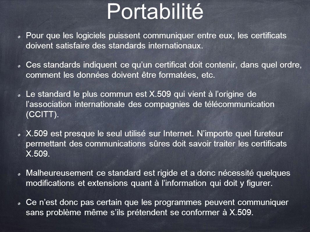 Portabilité Pour que les logiciels puissent communiquer entre eux, les certificats doivent satisfaire des standards internationaux. Ces standards indi