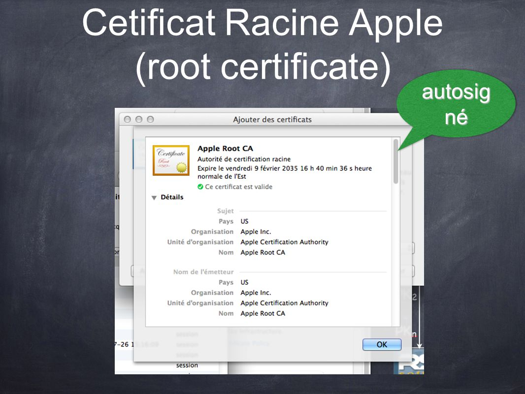 Cetificat Racine Apple (root certificate) autosig né