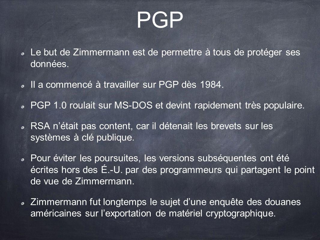 PGP Le but de Zimmermann est de permettre à tous de protéger ses données. Il a commencé à travailler sur PGP dès 1984. PGP 1.0 roulait sur MS-DOS et d