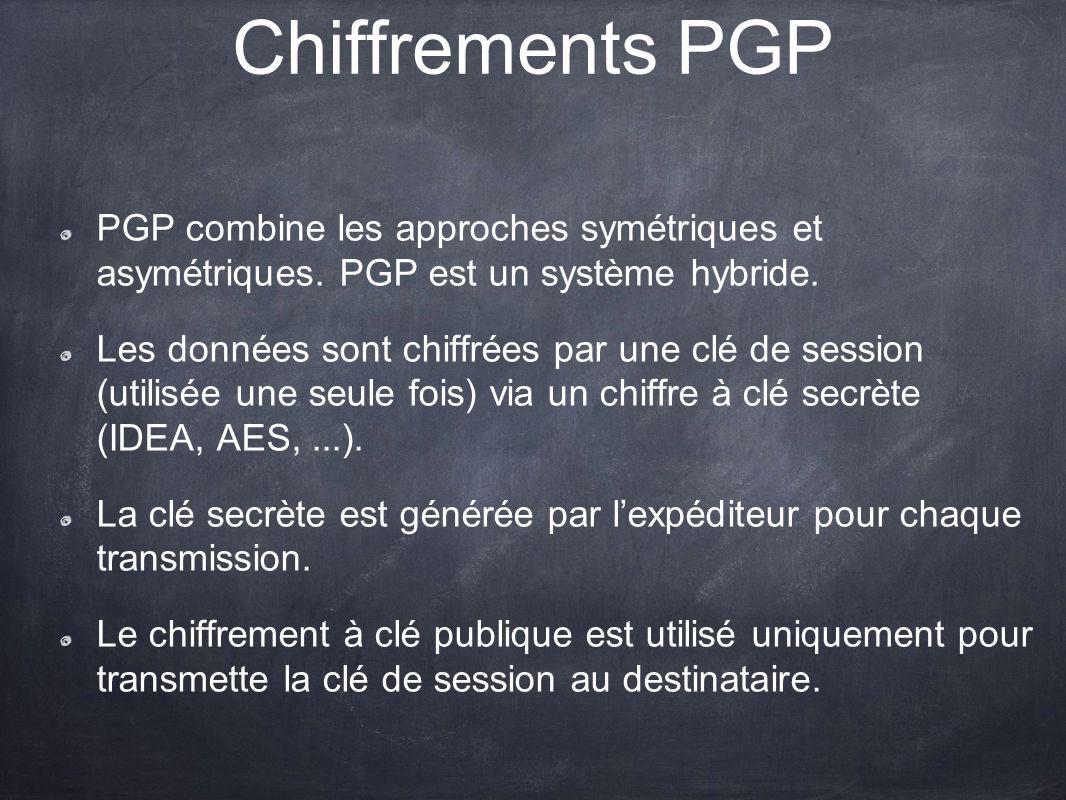 Chiffrements PGP PGP combine les approches symétriques et asymétriques. PGP est un système hybride. Les données sont chiffrées par une clé de session