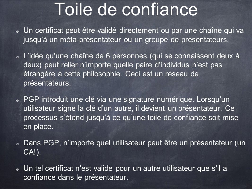 Toile de confiance Un certificat peut être validé directement ou par une chaîne qui va jusquà un méta-présentateur ou un groupe de présentateurs. Lidé