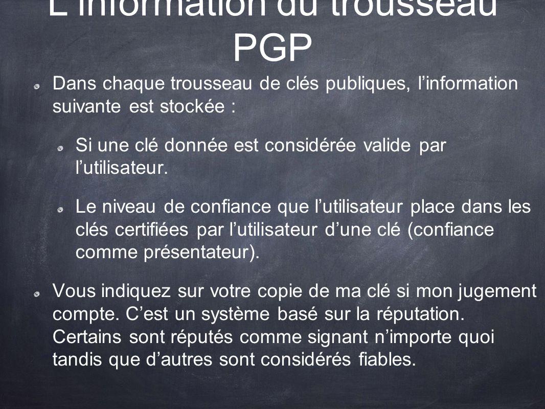 Linformation du trousseau PGP Dans chaque trousseau de clés publiques, linformation suivante est stockée : Si une clé donnée est considérée valide par