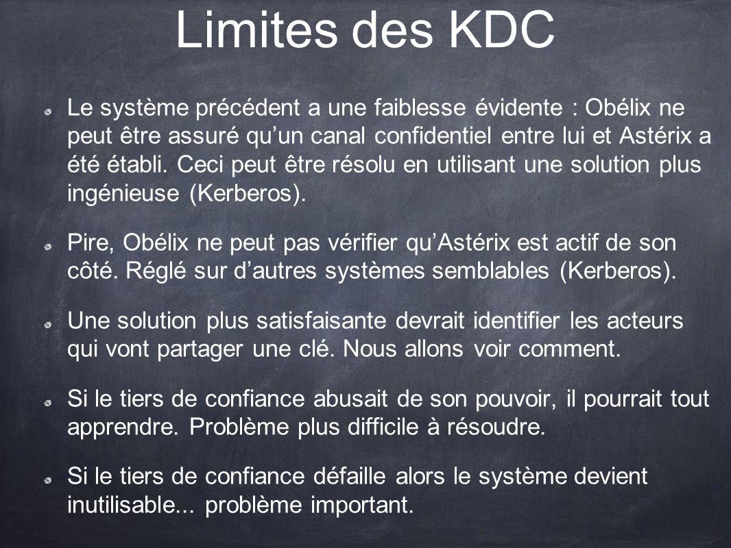 Limites des KDC Le système précédent a une faiblesse évidente : Obélix ne peut être assuré quun canal confidentiel entre lui et Astérix a été établi.