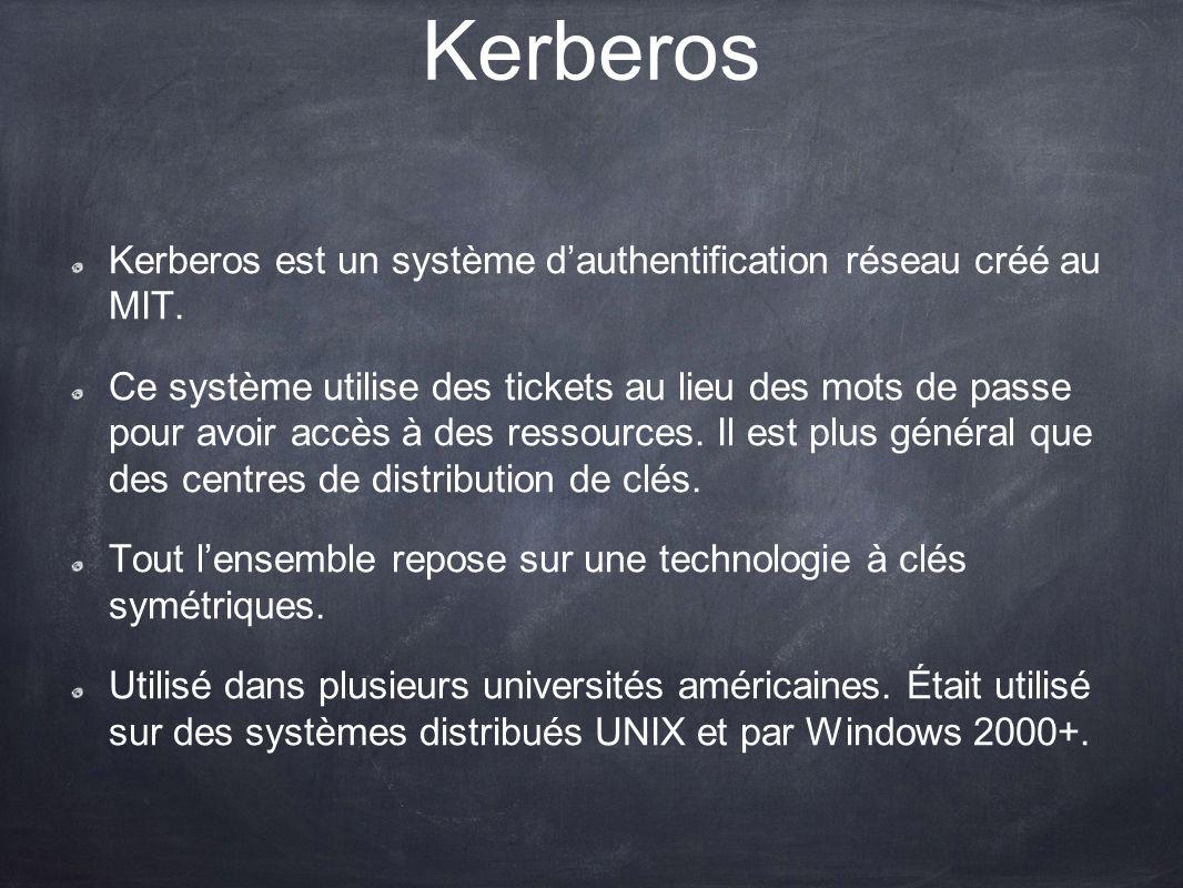 Kerberos Kerberos est un système dauthentification réseau créé au MIT. Ce système utilise des tickets au lieu des mots de passe pour avoir accès à des