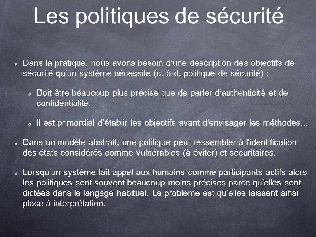 Les politiques de sécurité Dans la pratique, nous avons besoin dune description des objectifs de sécurité quun système nécessite (c.-à-d.