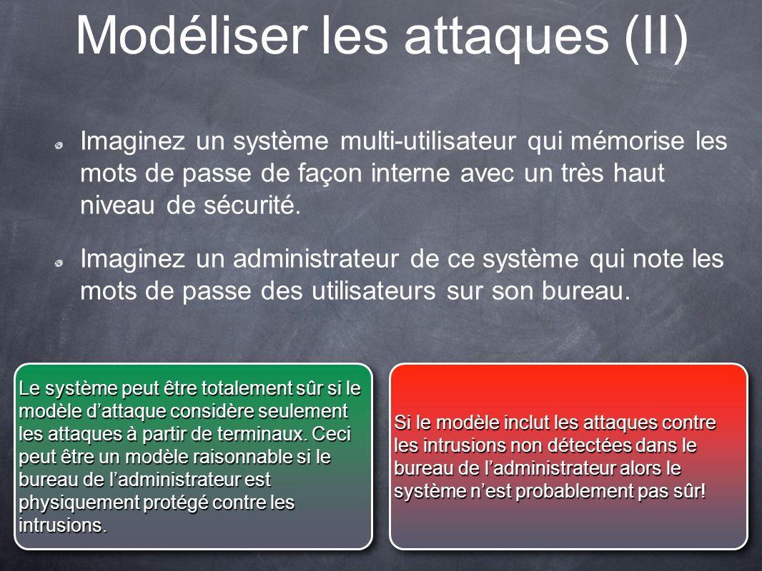 Modéliser les attaques (II) Imaginez un système multi-utilisateur qui mémorise les mots de passe de façon interne avec un très haut niveau de sécurité