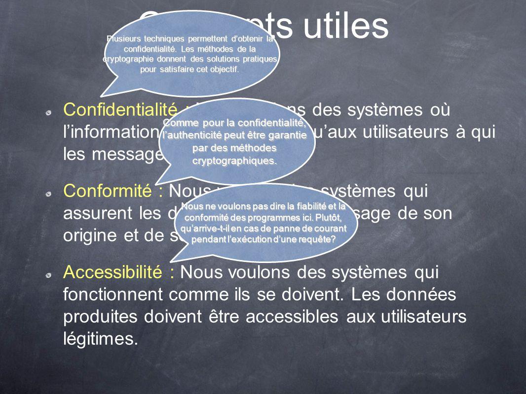 Concepts utiles Confidentialité : Nous voulons des systèmes où linformation nest accessible quaux utilisateurs à qui les messages sont destinés.