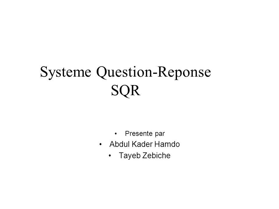 Systeme Question-Reponse SQR Presente par Abdul Kader Hamdo Tayeb Zebiche