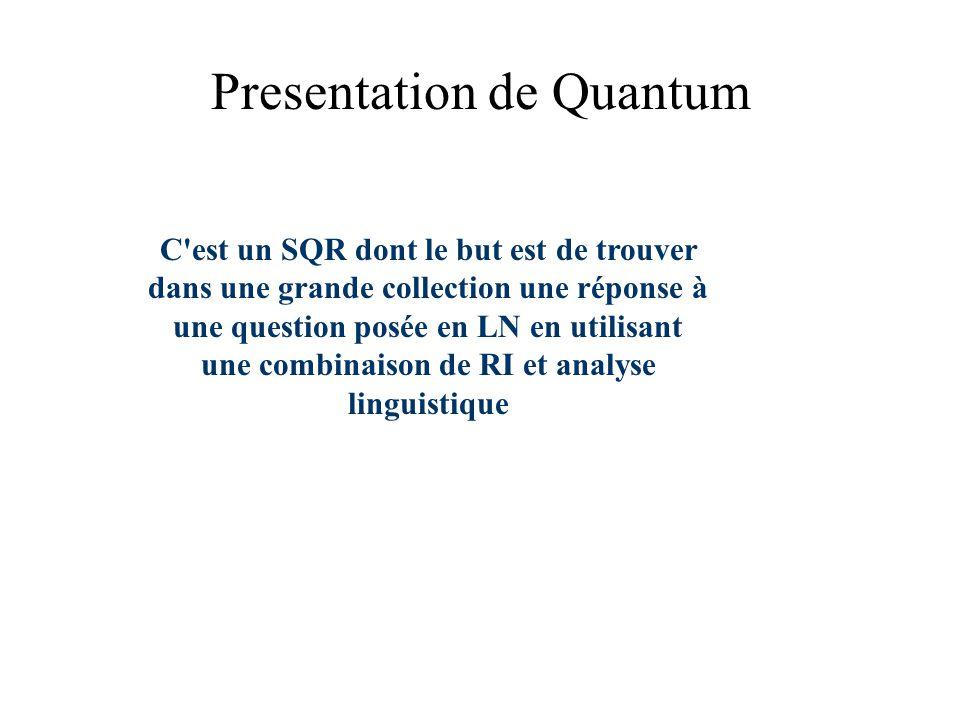 Presentation de Quantum C est un SQR dont le but est de trouver dans une grande collection une réponse à une question posée en LN en utilisant une combinaison de RI et analyse linguistique