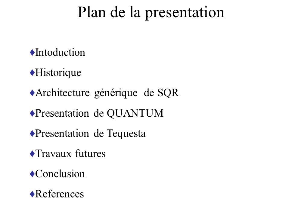 Plan de la presentation Intoduction Historique Architecture générique de SQR Presentation de QUANTUM Presentation de Tequesta Travaux futures Conclusi