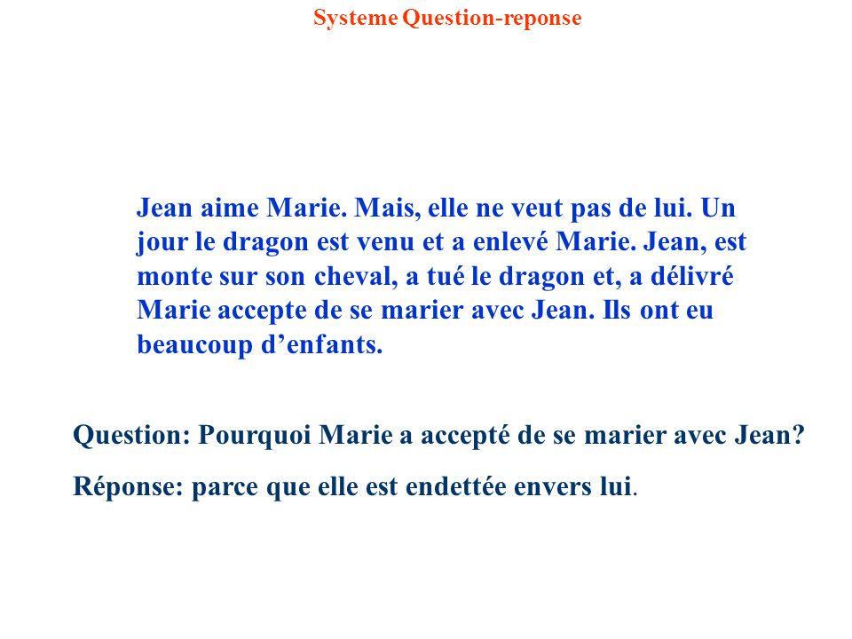 Systeme Question-reponse Jean aime Marie.Mais, elle ne veut pas de lui.