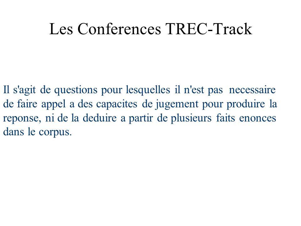 Les Conferences TREC-Track Il s agit de questions pour lesquelles il n est pas necessaire de faire appel a des capacites de jugement pour produire la reponse, ni de la deduire a partir de plusieurs faits enonces dans le corpus.