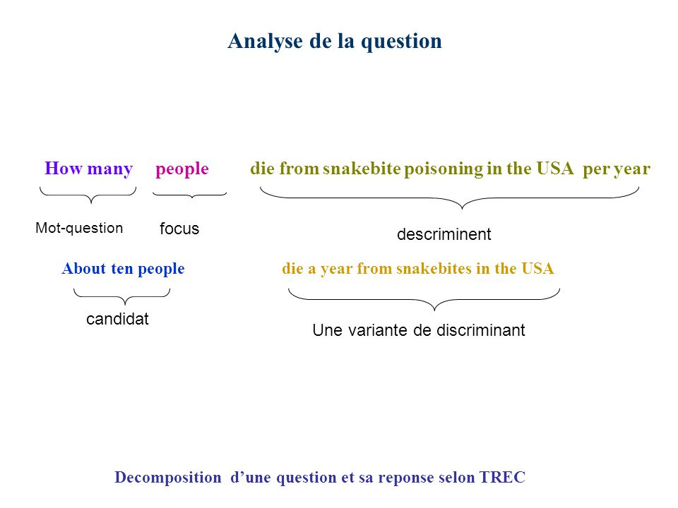 How many people die from snakebite poisoning in the USA per year Mot-question focus descriminent About ten people die a year from snakebites in the USA candidat Une variante de discriminant Decomposition dune question et sa reponse selon TREC Analyse de la question