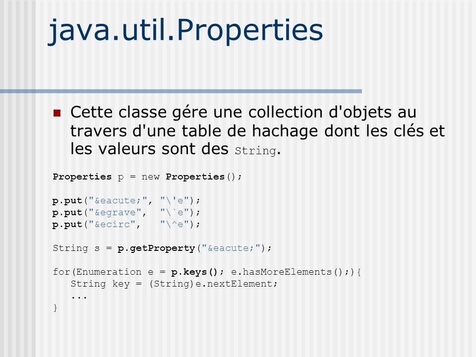 java.util.Properties Cette classe gére une collection d objets au travers d une table de hachage dont les clés et les valeurs sont des String.