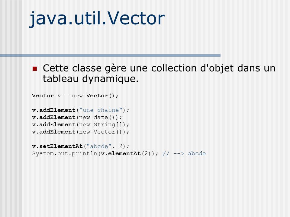 java.util.Vector Cette classe gère une collection d objet dans un tableau dynamique.