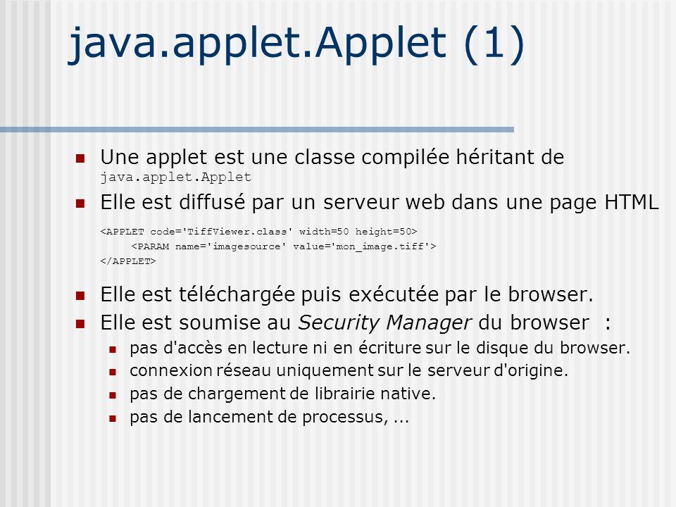 java.applet.Applet (1) Une applet est une classe compilée héritant de java.applet.Applet Elle est diffusé par un serveur web dans une page HTML Elle est téléchargée puis exécutée par le browser.