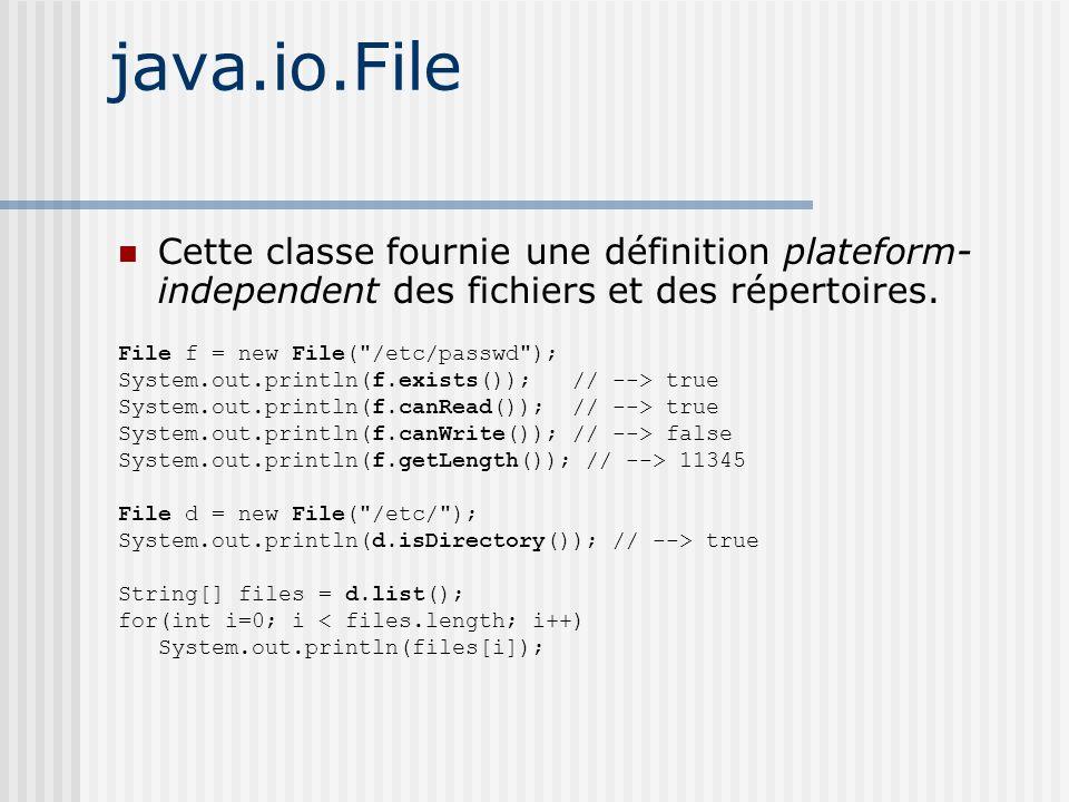 java.io.File Cette classe fournie une définition plateform- independent des fichiers et des répertoires.