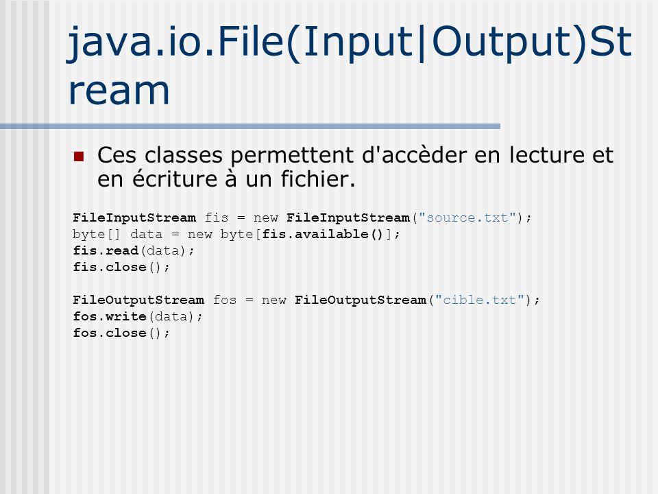 java.io.File(Input|Output)St ream Ces classes permettent d accèder en lecture et en écriture à un fichier.