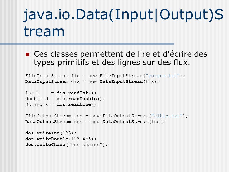 java.io.Data(Input|Output)S tream Ces classes permettent de lire et d écrire des types primitifs et des lignes sur des flux.
