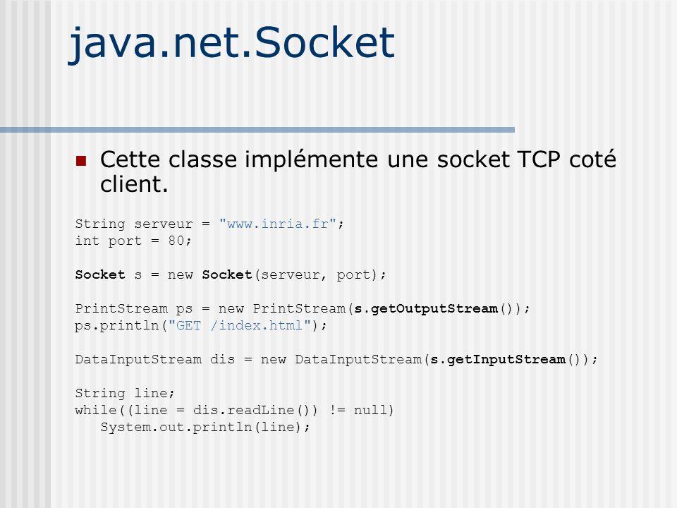 java.net.Socket Cette classe implémente une socket TCP coté client.